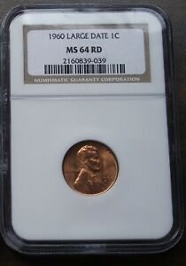 1960 NGC MS64 RD LARGE DATE LINCOLN MEMORIAL CENT