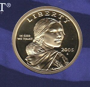 CAMEO/PROOF 2005 S GOLDEN NATIVE AMERICAN SACAGAWEA DOLLAR FLYING EAGLE REVERSE