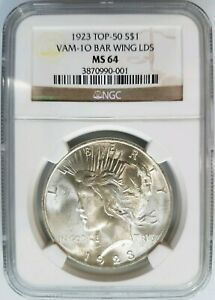 Click now to see the BUY IT NOW Price! 1923 SILVER PEACE DOLLAR NGC MS 64 VAM 1O BAR WING LDS VARIETY MINT ERROR COIN