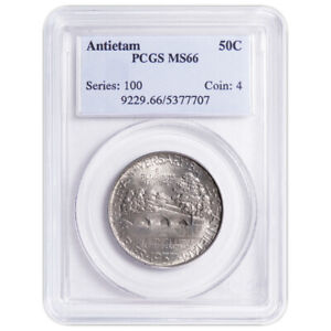 1937 50C BATTLE OF ANTIETAM COMMEMORATIVE SILVER HALF DOLLAR PCGS MS66