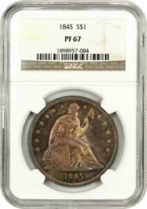 Click now to see the BUY IT NOW Price! 1845 $1 NGC PR 67 EX: PITTMAN   FINEST KNOWN BEAUTIFUL TONING
