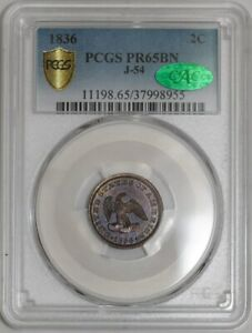 Click now to see the BUY IT NOW Price! 1836 TWO CENT 2C PATTERN J 54 P 57 R.6 PR65 BN SECURE PLUS PCGS   CAC   941990 7