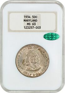 1934 MARYLAND 50C NGC/CAC MS63  OH    SILVER CLASSIC COMMEMORATIVE
