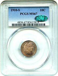 Click now to see the BUY IT NOW Price! 1910 S 10C PCGS/CAC MS67   REGISTRY QUALITY GEM   BARBER DIME