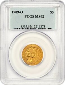 Click now to see the BUY IT NOW Price! 1909 O $5 PCGS MS62   FAMOUS KEY DATE   INDIAN HALF EAGLE   GOLD COIN