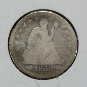 1853 25C SEATED LIBERTY QUARTER WITH ARROWS & RAYS LOTN465