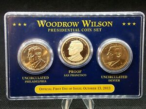 2013 WOODROW WILSON  FIRST DAY OF ISSUE  PRESIDENTIAL PDS 3 COIN SET  ECC&C INC