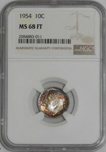 Click now to see the BUY IT NOW Price! 1954 ROOSEVELT DIME 10C MS68 FT NGC   938971 1