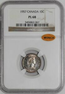 Click now to see the BUY IT NOW Price! 1957 CANADA DIME 10C PL68 PROOF LIKE NGC   WINGS  921638 54