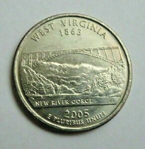 USA 2005P WEST VIRGINIA STATE QUARTER 25 CENT COIN