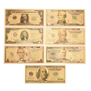 1SET 7 PCS GOLD PLATED US DOLLAR PAPER MONEY BANKNOTES CRAFTS FOR COLLECTION PKC