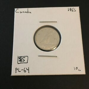 1965 10 CENT CANADA  SMALL 99 MUST SEE       COIN 232