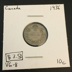 1936 10 CENT CANADA      COIN 222