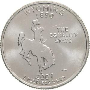 2007 D STATE QUARTER WYOMING BU CN CLAD US COIN