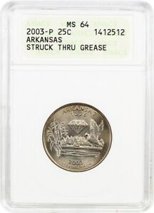 2003 P ARKANSAS 25C ANACS MS64  STRUCK THRU GREASE    STATEHOOD QUARTER