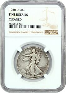 1938 D 50C NGC FINE DETAILS  CLEANED    WALKING LIBERTY HALF DOLLAR