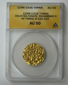 Click now to see the BUY IT NOW Price! 1296 1316 INDIA TANKA DELHI SULTANATE MUHAMMAD II G 220/222 ANACS AU 50 68356