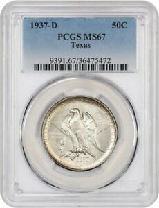 1937 D TEXAS 50C PCGS MS67   LOW MINTAGE ISSUE   SILVER CLASSIC COMMEMORATIVE
