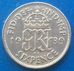 1939 KING GEORGE VI SILVER SIXPENCE COIN 80TH BIRTHDAY