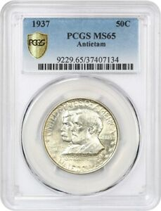 1937 ANTIETAM 50C PCGS MS65   LOW MINTAGE ISSUE   SILVER CLASSIC COMMEMORATIVE