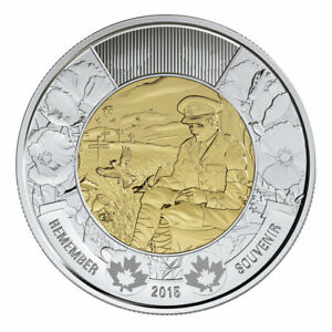 2015 CANADA $2 TOONIE REMEMBER FLANDERS FIELDS 100TH ANNIVERSARY