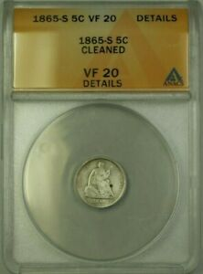 1865 S SEATED LIBERTY HALF DIME 5C COIN ANACS VF 20 DETAILS CLEANED  WW