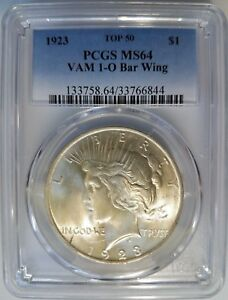 Click now to see the BUY IT NOW Price! 1923 SILVER PEACE DOLLAR PCGS MS 64 VAM 1O BAR WING VARIETY MINT ERROR TOP 50