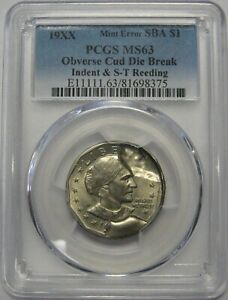 19XX SUSAN B ANTHONY DOLLAR PCGS MS63 OBV CUD DIE BREAK INDENT & S T REEDING