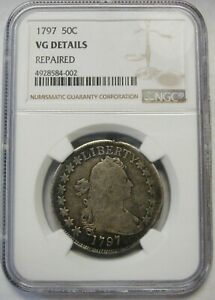 Click now to see the BUY IT NOW Price! 1797 DRAPED BUST SMALL EAGLE SILVER HALF DOLLAR GRADED NGC VG DETAILS  COIN