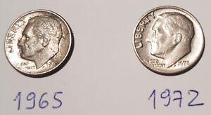 1965 & 1972 USA ONE DIME ROOSEVELT COINS  VINTAGE  ITEMS
