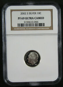 2002 S 10C SILVER NGC PF69 ULTRA CAMEO.  919020