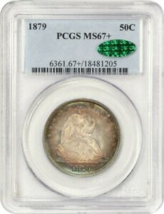 Click now to see the BUY IT NOW Price! 1879 50C PCGS/CAC MS67  BEAUTIFUL LOW MINTAGE GEM   LIBERTY SEATED HALF DOLLAR