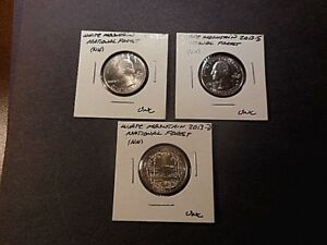 2013 AMERICA THE BEAUTIFUL QUARTERS WHITE MT. N.F. SET OF 3 P D S UNC COND.