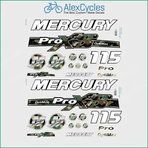 115 HP Mercury Optimax ProXS Outboadrs Canada Motor Laminated Decals Boat Kit