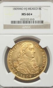 Click now to see the BUY IT NOW Price! MEXICO 1809 MO HJ 8 ESCUDOS GOLD NGC MS 66 STAR POP 1