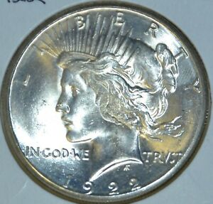 1922 S HIGH QUALITY MS UNCIRCULATED/UNC  LUSTROUS PEACE SILVER DOLLAR $1 COIN