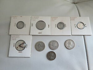 LOT OF 9 COINS CANADA 1919   1957 SILVER 25 10 & 5 CENTS  175