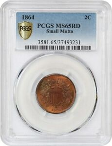 Click now to see the BUY IT NOW Price! 1864 2C PCGS MS65 RD  SMALL MOTTO    BEAUTIFUL TONING   2 CENT PIECE