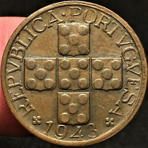 Click now to see the BUY IT NOW Price! 1943 PORTUGAL 20 CENTAVOS WAR WORLD 2 ERA BRONZE COIN KM 584 BETTER DATE AU