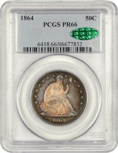 Click now to see the BUY IT NOW Price! 1864 50C PCGS/CAC PR 66   BEAUTIFUL RAINBOW TONING   LIBERTY SEATED HALF DOLLAR
