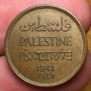 Click now to see the BUY IT NOW Price! 1941 PALESTINE 1 MIL COIN HEBREW AND ARABIC KM 1 BETTER DATE UNCIRCULATED