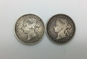 Click now to see the BUY IT NOW Price! 1870 & 1872 H PAIR LOT OF 2  25 CENTS CANADA DECENT  GRADES  NICE ORIGINAL GREY
