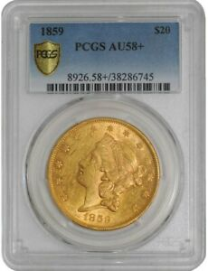 Click now to see the BUY IT NOW Price! 1859 $20 GOLD LIBERTY AU58  SECURE PLUS PCGS  938198 14