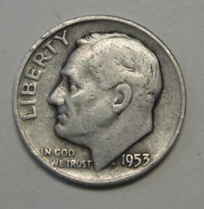 1953 D SILVER ROOSEVELT DIME GRADING IN AVERAGE CIRCULATED CONDITION FREE S&H
