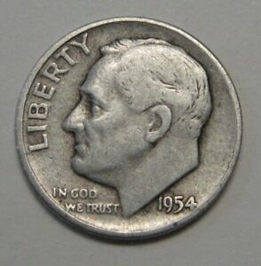 1954 D SILVER ROOSEVELT DIME GRADING IN AVERAGE CIRCULATED CONDITION FREE S&H
