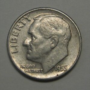 1955 D SILVER ROOSEVELT DIME GRADING IN AVERAGE CIRCULATED CONDITION FREE S&H