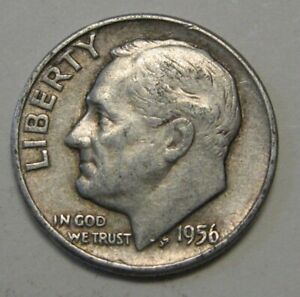 1956 D SILVER ROOSEVELT DIME GRADING IN AVERAGE CIRCULATED CONDITION FREE S&H