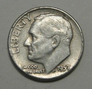 1957 SILVER ROOSEVELT DIME GRADING IN AVERAGE CIRCULATED CONDITION FREE S&H