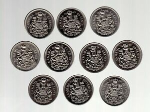 NICKEL HALF DOLLAR COAT OF ARMS DESIGN LOT OF 10 COINS LOW CIRC. COND.