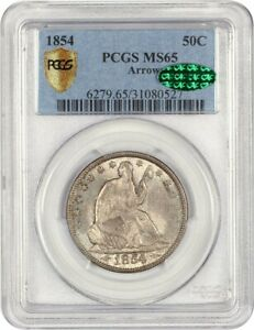 1854 50C PCGS/CAC MS65  ARROWS  DESIRABLE 2 YEAR TYPE COIN ISSUE